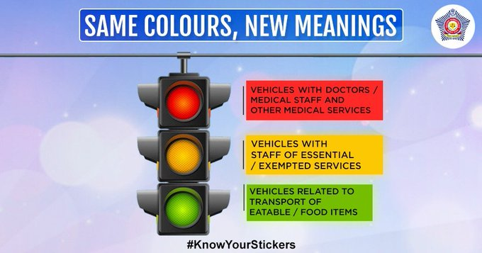 Colour Coded Stickers for Vehicles in Lockdow, curfew, COVID-19